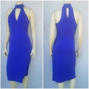 Venus Royal Blue Keyhole Choker Stretch Midi Dress